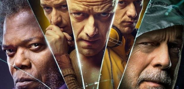 composite photo of Elijh Price (Morgan Freeman), three personalities of Kevin Wendell Crumb (James McAvoy) and David Dunn (Bruce Willis). (Photo: Universal Pictures)
