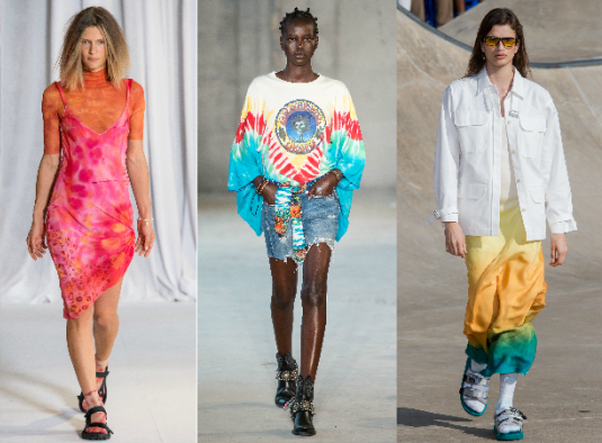 Models from the spring/summer New York Fashion week wearing tie-dye. (Photos: Imaxtree)