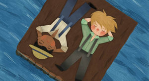 A drawing of Huck Fin and Jim lying on a raft in the river. (Photo: Adventure Theatre)