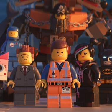 (L-R) Unikitty (Alison Brie), Benny (Charlie Day), President Business (Will Ferrell), MetalBeard (Nick Offerman), Emmet (Chris Pratt), Lucy/Wyldstyle (Elizabeth Banks) and Batman (Will Arnett) in a scene from