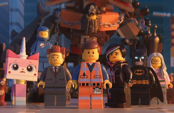 "(L-R) Unikitty (Alison Brie), Benny (Charlie Day), President Business (Will Ferrell), MetalBeard (Nick Offerman), Emmet (Chris Pratt), Lucy/Wyldstyle (Elizabeth Banks) and Batman (Will Arnett) in a scene from ""The LEGO Movie 2: The Second Part."" (Photo: Warner Bros. Pictures)"