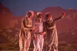 Three female astronauts on Mars. (Photo: Deviated Theatre)