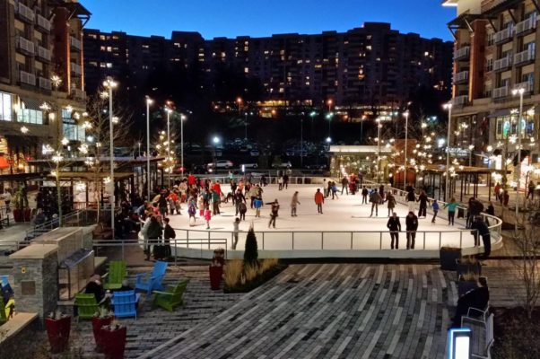 Skaters on the ice at the Pentagon Row ice rink. (Photo: Pentagon Row)