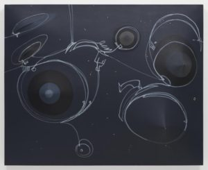 """Black Moon with Tattoo"" painting by Zilia  is an abstract work with white circles and lines on a black canvas. (Photo: Phillips Collection)"
