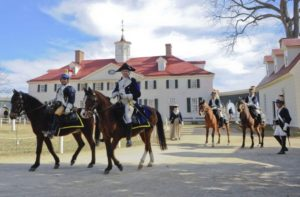 General Washington and another military officer on horseback at Mount Vernon. (Photo: Rob Shenk)