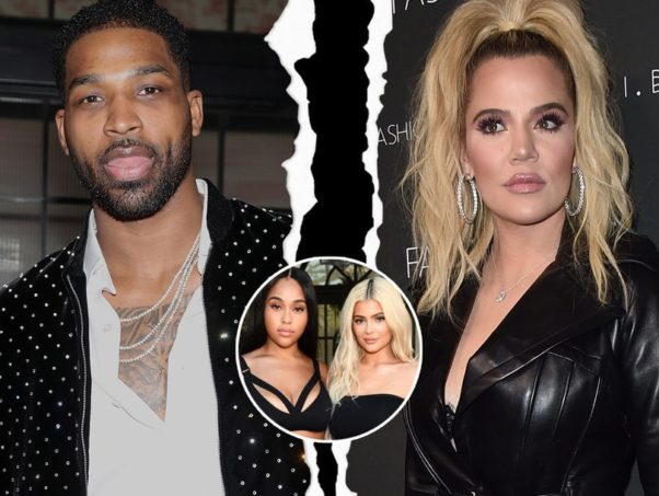 "Photo of Tristian and Khloe with a ""rip"" down the middle and inset photo of Kylie and Jordayn. (Photo: Getty Images)"