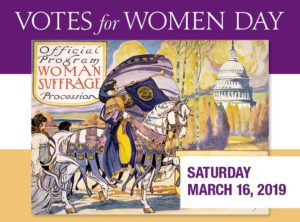 A drawing of women walking & riding horses past the Capitol. (Photo: Capitol Visitor Center)
