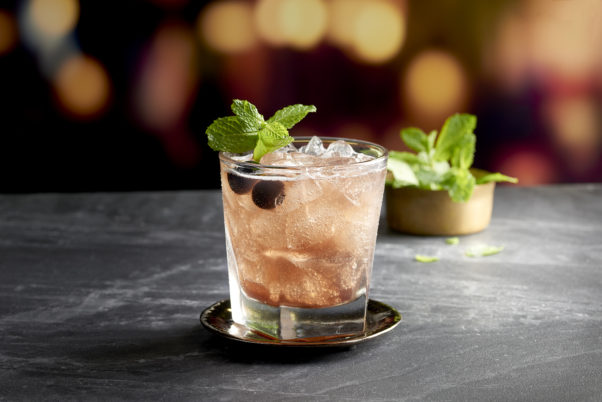 Mastro's Bing and Blossom cocktail with cherries and mint in it. (Photo: Mastro's Steakhouse)