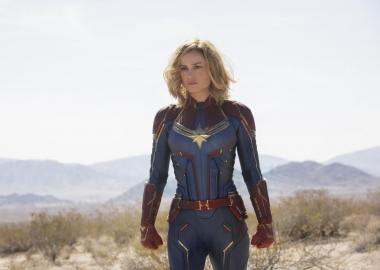 Brie Larson as Captain Marvel standing in brush. (Photo: Marvel Studios)