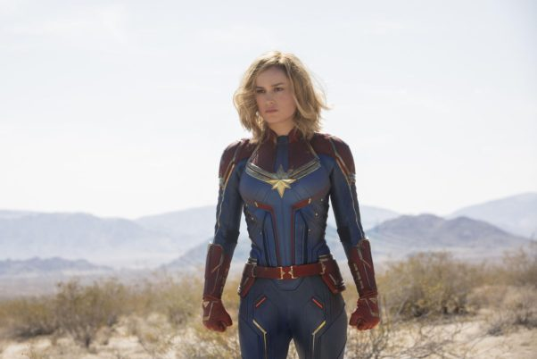 Brie Larson as Captain Marvel standing in brush. (Photo: Marvel Studios)