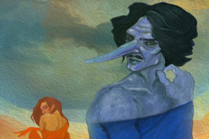 A drawing of Cyrano de Bergerac in blue whith a woman in the backgorund painted in orange. (Image: Synetich Theater)