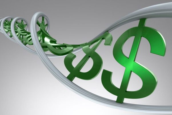 Dollar signs joined together resembling an extended strand of DNA. (Photo: Getty Images)