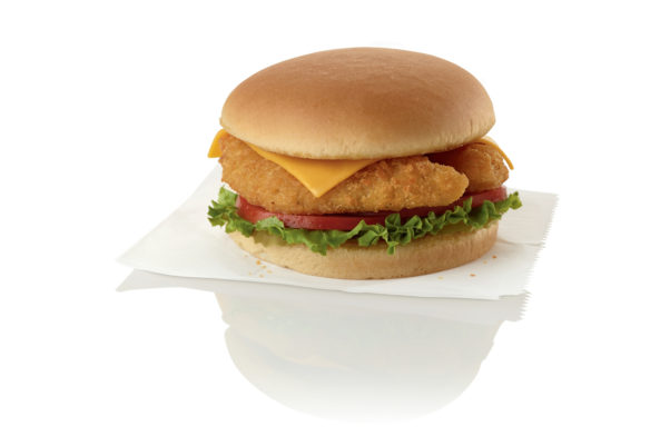 A fish sandwich with lettuce, tomato and chesse on a plain bun. (Photo: Chick-fil-A)