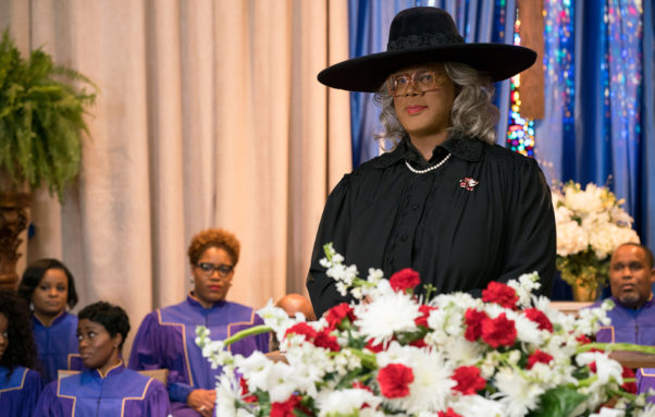 Tyler Perry as Medea dressed in black at a funeral. (Photo: Lionsgate Films)