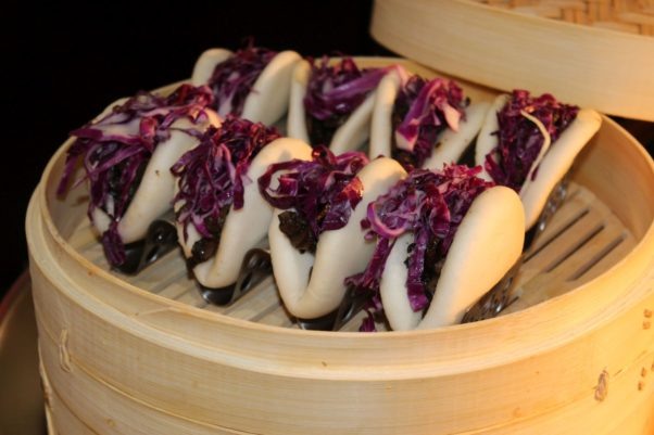 A steamer basket filled with mushroom and cabage bao buns. (Photo: Mark Heckathorn/DC on Heels)