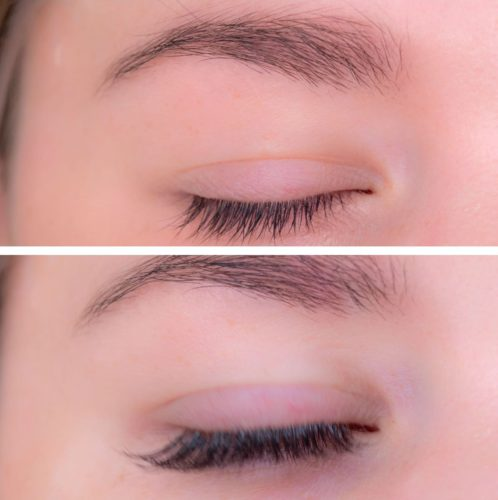 Before (top) and after photos of a woman with eyelash extensions. (Photo: The Lash Spa)