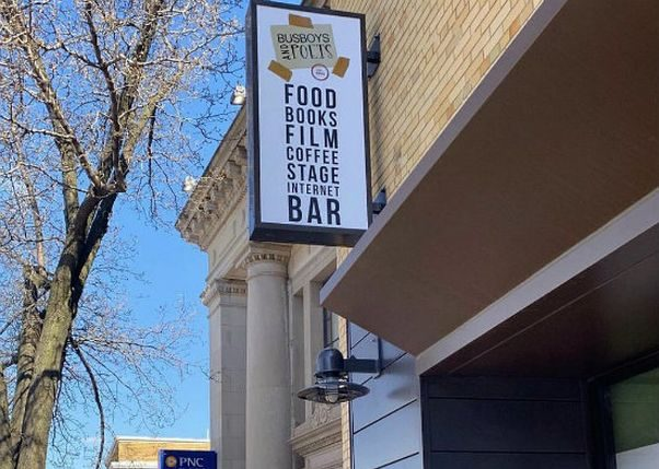 The front of the new Busboys & Poets in Anacostia showing the sign. (Photo: Urban Turf)