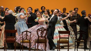 The cast of Eugene Onegin at a ballroom dance. (Photo: Kennedy Center)