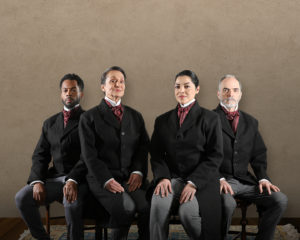 Two actors and two actresses who portray John Quincy Adams in JQA. (Photo: Tony Powell)