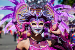 Beatifil and colorful mask display during the parade in Masskara Festival at Bacolod City , Philippines. (Photo: Shutterstock)