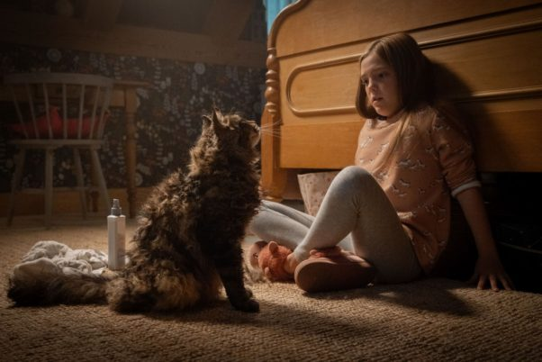 Jeté Laurence as Ellie is scared by a cat. (Photo: Paramount Pictures)
