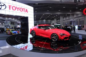 A red prototype Toyota Supra on display at the Washington Auto Show. (Photo: Mark Heckathorn/DC on Heels)