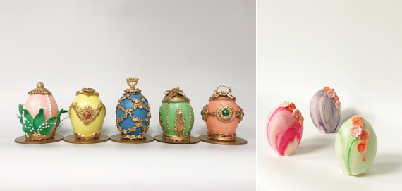 Egg shaped cakes decorated like classic Faberge eggs as well as more modern ones. (Photo: Buttercream Bakeshop)