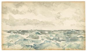 """James McNeil Whistler's watercolor painting """"Blue and Silver - Choppy Channel"""" of choppy seas. (Photo: Freer Gallery of Art)"""