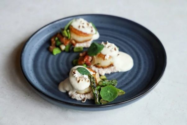 Scallops over Jimmy Red grits with bacon-cauliflower foam on a black plate. (Photo: Jennifer Chase)