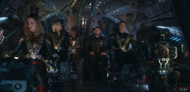 Captain Marvel, Black Window, War Machine, Thor, Captain American and Rocket in the cockpit of an airplane. (Photo: Marvel Studios)