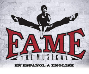"""Logo for """"Fame, the Musical"""" with a male dancer leaping over the show's title. (Image: GALA Hispanic Theatre)"""