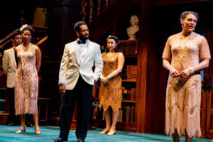 The King of Navarre (Joshua David Robinson) has a word for the ladies of France (l to r: Yesenia Iglesias, Chani Wereley, Kelsey Rainwater). (Photo: Brittany Diliberto)