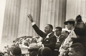 """Martin Luther King Jr. giving his """"I Have a Dream"""" speeh on the steps of the Lincoln Memorial. (Photo: Robert Adelman)"""