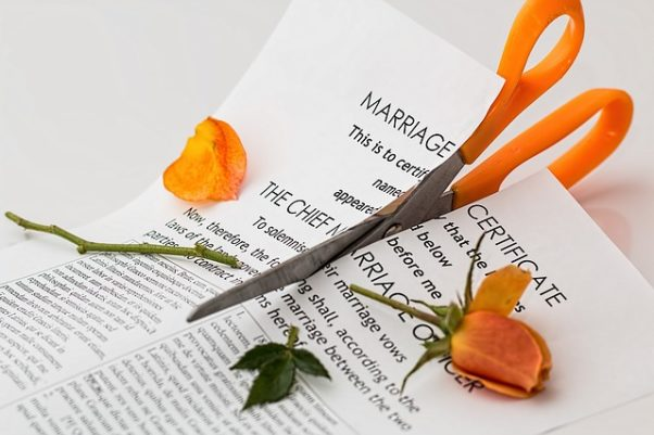 Scissors cutting a marriage license and a rose. (Photo: Steve Buissinne/Pixabay)