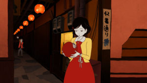 """""""The Girl with Black Hair"""" looks at a mask she is holding. (Photo: Gkids)"""