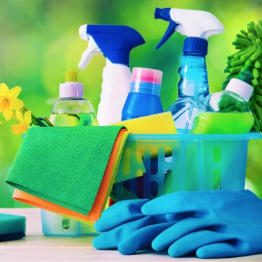clening supplies including rubber gloves, sponges, rags and bottles of cleaners. (Photo: Getty Images)