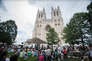Crowds at the 2018 1 Journey Festival with the Washington National Cathedral in the background. (Photo: 1 Journey Festival)