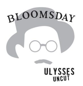 Bloomsday logo of a sillouhette of a man with a mustache wearing round glasses and a hat. (Image: Loyalty Books)