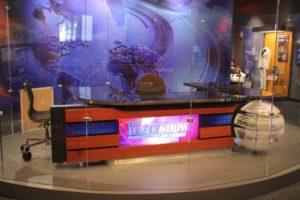 Jon Stewart's desk from The Daily Show behind glass. (Photo: Ellen Collier/Washington Post Express)
