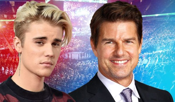 Headshots of Justin Bieber (l) and Tom Cruise superimposed onto a photo of a boxing arena. (Photo: Extra.ie)