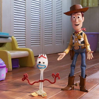 Woody standing in Bonnie's room with Forky walking away. (Photo: Disney/Pixar)