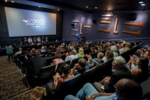 Moviegoers listen to a panel discussion following a movie screening. (Photo: AFI Docs)