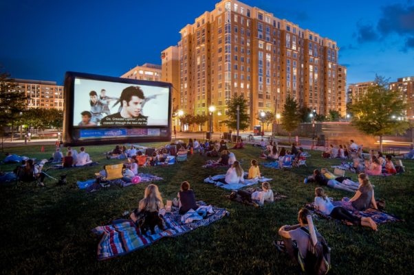 People on blanket watching Grease in Canal Park. (Photo: Sam Kittner)