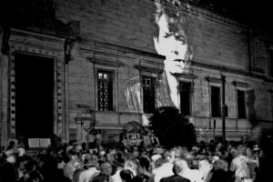 """Protesters outside the Corcoran following the cancelation of """"Robert Mapplethorpe: The Perfect Moment"""" on June 30, 1989, (Photo: Frank Herrera)"""