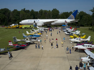 Visitors to the Innovations in Flight family day in 2018 check out the airplane outside the Steven F. Udvar-Hazy Center. (Photo: Mark Avino)