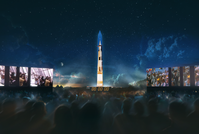 A 363-foot Saturn V rocket is projected onto the Washington Monument. (Photo: National Air & Space Museum)