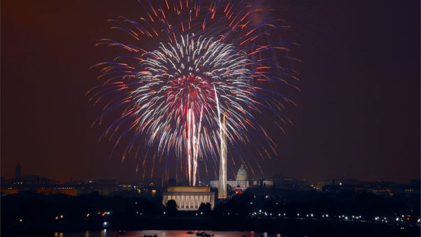 fireworks over the Mall. (Photo: Library of Congress)