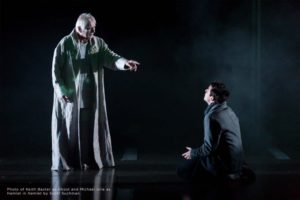 His father's ghost (Keith Baxter) appears to Hamlet (Michael Urie). (Photo: Scott Suchman)