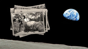 Photo of the Earth rising over the horizon of th moon with black and white photos beside it. (Photo: Kennedy Center)