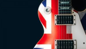 Electric guitar painted with the British flag. (Photo: Signature Theatre)